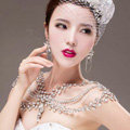 European Extreme Luxury Queen Crystal Bridal Necklace Rhinestone Shoulder Chain Wedding Party Jewelry