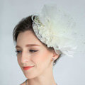 European Lace Flower Crystal Gauze Bridal Fascinator Hair Accessories Wedding Dress Prom Hat Face Veils