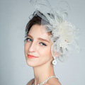 European Pearl Crystal Gauze Bridal Fascinator Hair Accessories Bride Wedding Dress Prom Large Hat Face Veils