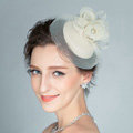 European Rose Flower Crystal Gauze Bridal Fascinator Hair Accessories Wedding Party Prom Hat Face Veils