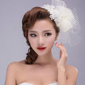 Flower Crystal Pearl Lace Gauze Bridal Fascinator Headpiece Bride Wedding Dress Prom Face Veils Hair Accessories