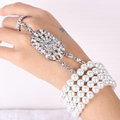 Calssic Multilayer Pearl Rhinestone Bridal Bracelet Crystal Wedding Jewelry
