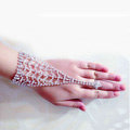 Hellow Rhinestone with Ring Bracelet Bridal Wedding Crystal Stage Hand Chain Accessories