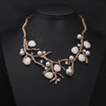 Generous Fashion Retro Metal Branches Gem Pearl Rhinestone Short Clavicle Chain Necklace
