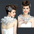 Gorgeous Bride Big Lace Flower Rhinestone Wedding Shawl Necklace Bridal Shoulder Chain Jewelry