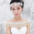 Gorgeous Bride Wedding Lace Crystal Multi Layers Pearls Shawl Bridal Shoulder Chain Jewelry