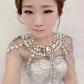 Gorgeous Queen Crystal Bridal Necklace Chain Rhinestone Shoulder Strap Bride Wedding Jewelry