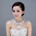 High Quality Bride Wedding Rhinestone Lace Flower Crystal Beads Tassel Bridal Choker Shoulder Chain Jewelry