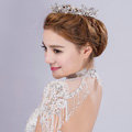 Large Round Flower Pearl Crystal Bride Wedding Tiaras Princess Pageant Rhinestone Crowns Hair Accessory