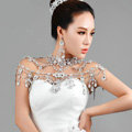 Luxious Queen Vintage Crystal Bridal Necklace Rhinestone Tassel Shoulder Chain Bride Wedding Jewelry