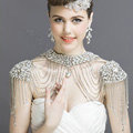 Luxious Vintage Crystal Bridal Necklace Chain Rhinestone Tassel Shoulder Strap Bride Wedding Accessories
