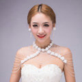 Luxurious Bride Crystal Beads Lace Flower Wedding Necklace Bridal Stage Shoulder Chain & Earrings Jewelry