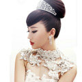 Luxurious Bride Delicate Lace Flower Crystal Wedding Necklace Rhinestone Bridal Shoulder Chain Jewelry