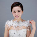 Luxurious Bride Lace Flower Wedding Shawl Pearl Crystal Bead Tassel Bridal Shoulder Chain Jewelry