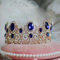 Luxurious European Style Large Blue Gem Crystal Pageant Tiaras Wedding Bridal Hair Rhinestone Crown