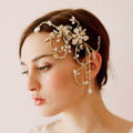 Luxury Bridal Wedding Alloy Flower Crystal Beads Tassel Bride Pearl Headband Hair Comb Accessories