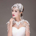 Luxury Queen Bride Lace Rhinestone Pearl Tassel Wedding Necklace Bridal Shoulder Chain Jewelry