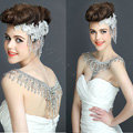 New Luxury Wedding Bride Crystal Bridal Chain Princess Platform Prom V Shoulder Necklace Jewelry
