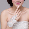 New Pearl Rhinestone Lace Flower Bridal Wristlet Wedding Dress Crystal Bracelet Chain Accessories