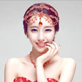 Newest Bohemia Style Flower Red Rhinestone Pendent Tassel Frontlet Bridal Headpiece Wedding Hair Accessories