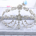 Newest Flower Rhinestone Pendent Tassel Frontlet Bridal Crown Wedding Hair Headpiece Accessories