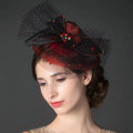 Newest Queen Red Crystal Gauze Bridal Fascinator Hair Accessories Wedding Dress Prom Hat