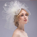 Over Size Pearl Crystal Gauze Bridal Fascinator Headwear Bride Wedding Dress Prom Face Veils Hair Accessories