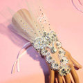 Princess Hollow Lace Rhinestone Bridal Wristlet Wedding Dress Perform Nail Bead Gauze Bracelet Accessories