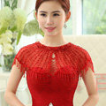 Red Luxurious Bride Lace Sequins Wedding Shawl Crystal Bead Tassel Bridal Shoulder Chain Jewelry