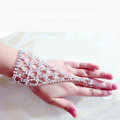 Simple Hellow Rhinestone with Ring Bracelet Bridal Wedding Crystal Stage Hand Chain Accessories