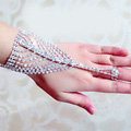 Simple Shinning Rhinestone with Ring Bracelet Bridal Wedding Crystal Stage Hand Chain Accessories