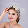 Sweety Bowknot Pearl Beads Gauze Bridal Fascinator Wedding Dress Prom Face Veils Hair Clip Accessories
