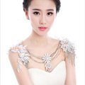 Sweety Bride Wedding Lace Flower Tassel Crystal Shawl Rhinestone Bridal Princess Shoulder Chain Jewelry