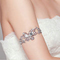 Sweety Style Rhinestone Butterfly Bridal Wedding Bracelet Crystal Armband Deco Armlet Chain