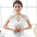 Vintage Bride Hollow Lace Flower Wedding Shawl Pearl Tassel Bridal Shoulder Chain Jewelry