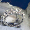 Vintage Luxurious European Style Tiaras Handmade Large Round Crystal Pearl Princess Bridal Hair Crown