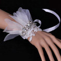 Vintage White Lace Flower Rhinestone Bridal Wristlet Wedding Dress Perform Nail Bead Gauze Bracelet Accessories