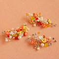 3 piece Retro Frosted Sliver Crystal Pearl Orange Flower Wedding Bridal Hair Barrettes Clip Accessories