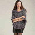 Autumn Winter Real Rabbit Fur Shawl Women Sweater Poncho With Hoody Knitted Pullovers Grey