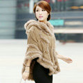 Autumn Winter Real Rabbit Fur Shawl Women Sweater Poncho With Hoody Knitted Pullovers khaki