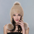 Calssic Winter Genuine Mink Fur Caps With Fox Fur Pom Poms Women Knitted Bomber Hat - Camel