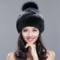 Calssic Winter Real Rabbit Fur Hat With Fox Fur Ball Women Knitted Casual Snow Caps - Black Grey