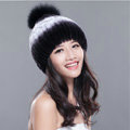 Calssic Winter Real Rabbit Fur Hat With Fox Fur Ball Women Knitted Casual Snow Caps - Black Purple