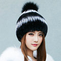 Calssic Winter Real Rabbit Fur Hat With Fox Fur Ball Women Knitted Casual Snow Caps - Black White