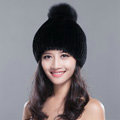 Calssic Winter Real Rabbit Fur Hat With Fox Fur Ball Women Knitted Casual Snow Caps - Black