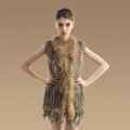 Delicate Natural Knit Rabbit Fur Vests Winter Fashion Women's Real Raccoon Fur Waistcoat - Brown