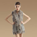 Delicate Natural Knit Rabbit Fur Vests Winter Fashion Women's Real Raccoon Fur Waistcoat - Grey