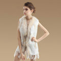 Delicate Natural Knit Rabbit Fur Vests Winter Fashion Women's Real Raccoon Fur Waistcoat - White