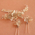 Elegant Bridal Butterfly Sliver Crystal Pearl Hairpins Sets Wedding Women Hair Barrettes Clip Accessories