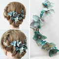 Elegant Bridal Crystal Bead Blue Simulation Flower Wedding Garland Frosted Headband Accessories